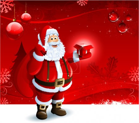 Photo for Santa Claus holding a gift box on red Christmas ornament background - Royalty Free Image