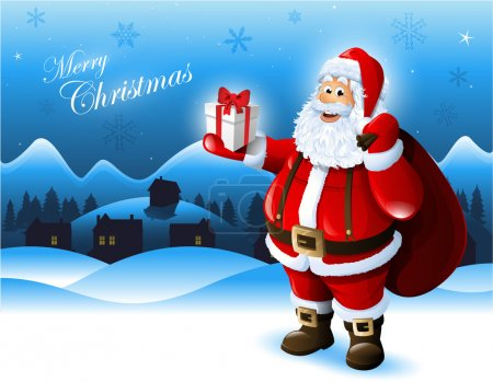 Photo for Santa Claus holding a gift box greeting card design - Royalty Free Image