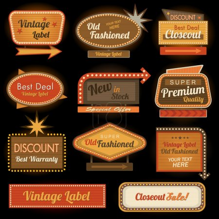 Photo for Vintage retro label signs collection banner set - Royalty Free Image
