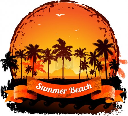 Illustration for Summer holidays tropical sunset background - Royalty Free Image