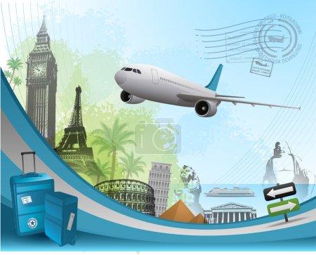 Illustration for Travel background design with famous landmarks elements eps 10 - Royalty Free Image