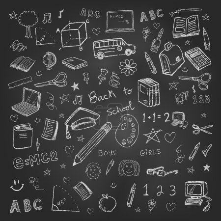 Illustration for Back to school doodles in chalkboard background eps 10 - Royalty Free Image