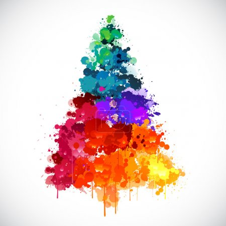 Colorful abstract paint spash Christmas tree