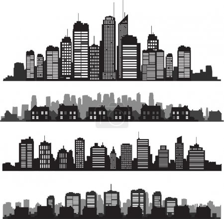 Photo for Set of vector cities silhouette and buildings - Royalty Free Image