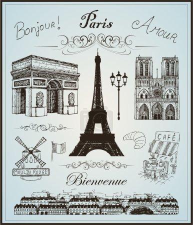 Illustration pour Éléments de collection Paris vecteur dessiné à la main eps 10 - image libre de droit