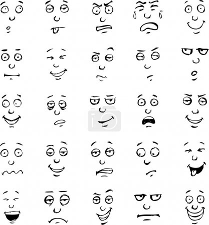 Illustration for Vector cartoon face emotions hand drawn set - Royalty Free Image