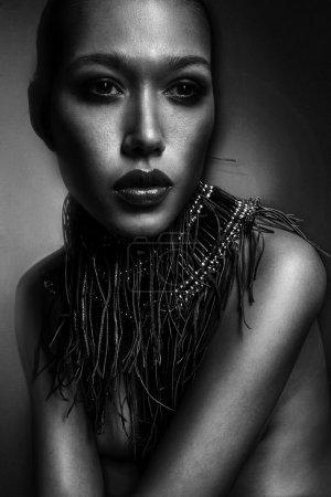 Fashion Woman Portrait. Vogue Style Model. Stylish Makeup and Ma