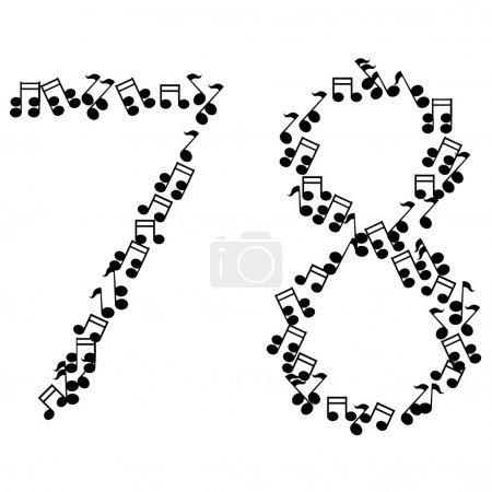 Vector music numbers isolated on white. Eps 10