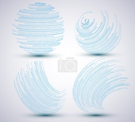Illustration for Vector binary sphere set on blue background. Eps10 illustration - Royalty Free Image