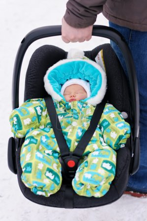 Newborn baby in the car seat