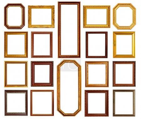 Photo pour Cadre en or et bois Collection sur fond blanc - image libre de droit