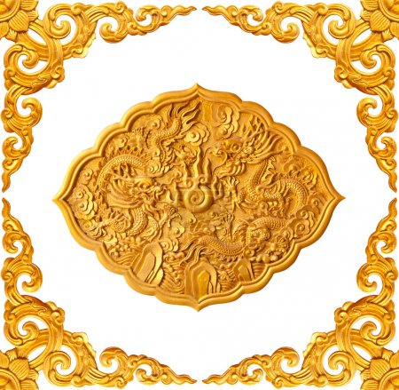 golden frame and dragon carve