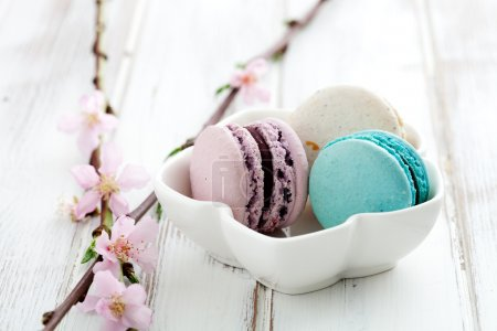 Photo for French macaroons in pink, turquoise and white - Royalty Free Image