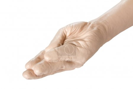 Photo for Sex toy - close up of giant hand prosthesis for fisting isolated on white background - Royalty Free Image