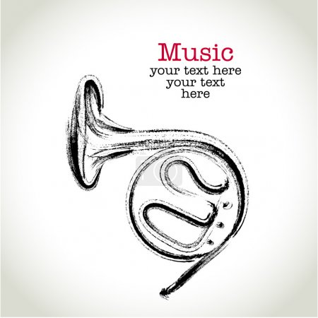 Illustration for Grunge drawing french horn with brushwork - Royalty Free Image