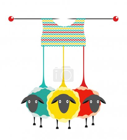Illustration pour Vecteur eps10 graphique illustration de trois moutons colorés avec des aiguilles à tricoter un pull. - image libre de droit