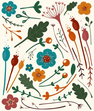 Photo for A set of bright flowers and berries. Vector illustration EPS8. - Royalty Free Image