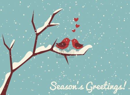 Photo pour Illustration de deux oiseaux mignons amoureux à l'heure d'hiver . - image libre de droit