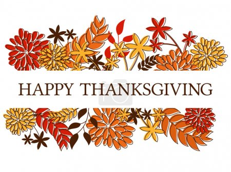 Illustration for Thanksgiving/seasonal design with autumn leaves and flowers isolated on white. - Royalty Free Image