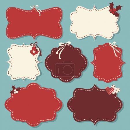 Illustration for A set of Christmas vintage labels in red and white. - Royalty Free Image