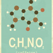 Poster in vintage style with caffeine's structural...