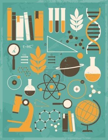 Photo for A set of science and education icons in vintage style. - Royalty Free Image
