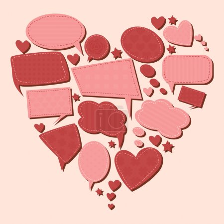 Illustration for A collection of cute pink speech bubbles in the shape of a heart. - Royalty Free Image