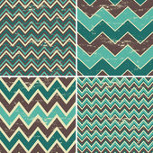 A set of four seamless chevron patterns in vintage style