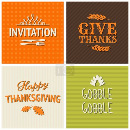 Illustration for A set of four typographic design cards for Thanksgiving Day. - Royalty Free Image