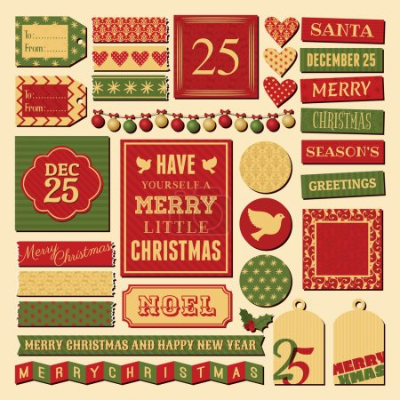 Illustration for A set of vintage design elements for Christmas in traditional red, green and gold colors. - Royalty Free Image