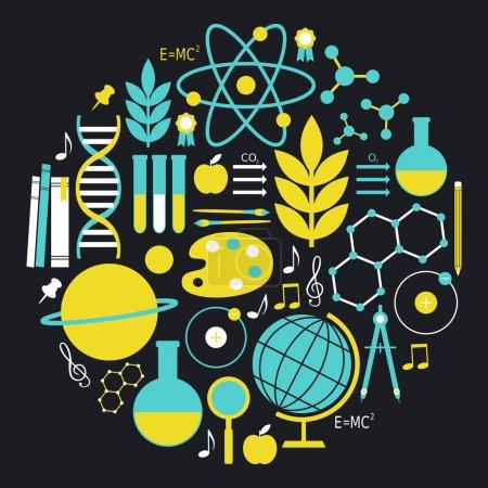Photo pour Un ensemble d'icônes de scool et d'éducation en bleu et jaune . - image libre de droit