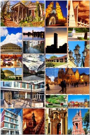 Photo pour Ville européenne en collage- Wroclaw / Pologne / - image libre de droit