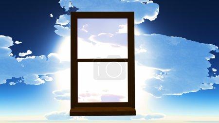 Photo pour Fenêtre d'opportunité donnant sur le ciel dramatique - image libre de droit