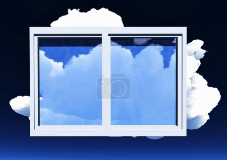 Photo pour Fenêtre d'opportunité surplombant le ciel bleu et de beaux nuages d'été - image libre de droit