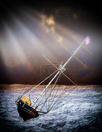 Pirate brigantine out on sea...