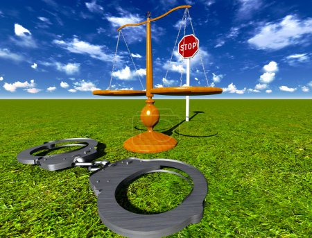 Photo pour Concept des échelles de justice et des menottes - image libre de droit