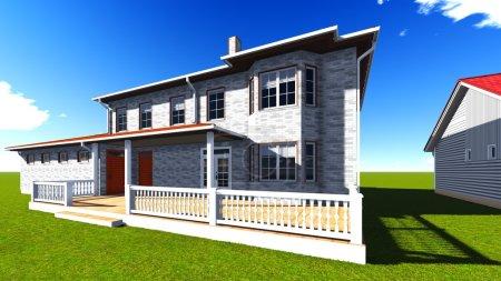 Photo pour Belles maisons dans le quartier un jour de ciel bleu - image libre de droit