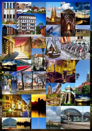 Photo pour Collage urbain européen avec cartes postales - image libre de droit