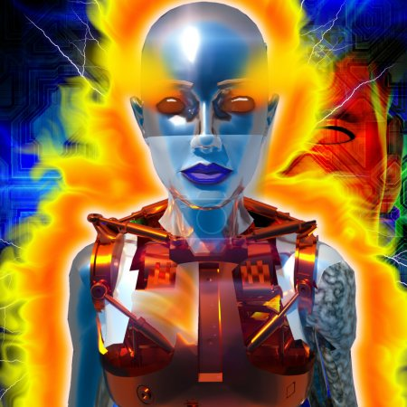 Photo for Cyborg with the flames of energy - Royalty Free Image