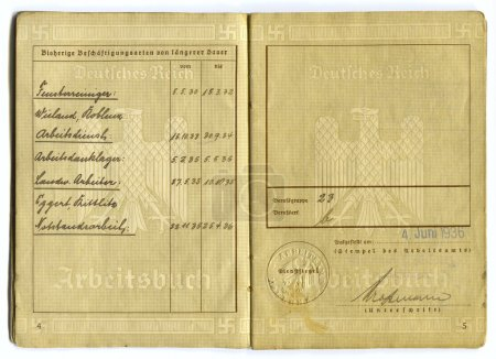German vintage EMPLOYMENT RECORD -WORK CERTIFICATE