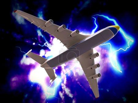 Foto de Accidente de un avión con tormenta eléctrica masiva - Imagen libre de derechos