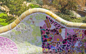 Park Guell modernist benches in Barcelona (SPain) made of mosaic