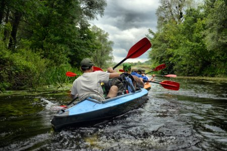 2014 Ukraine river Sula river rafting kayaking editorial photo