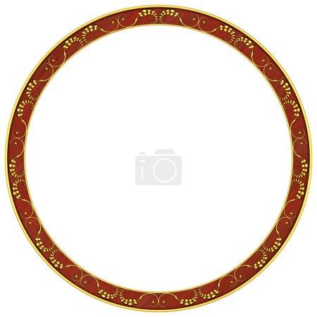 Photo pour Cadre rond avec motifs dorés - image libre de droit