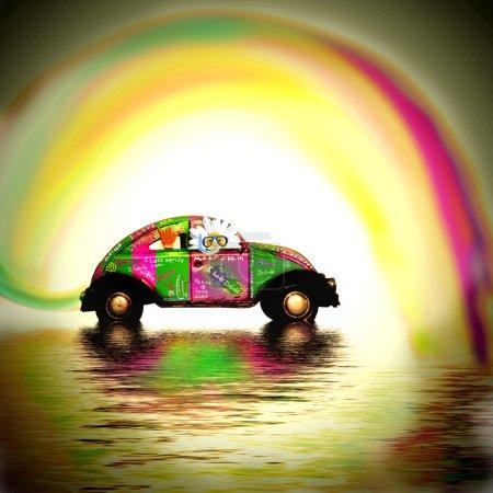retro car surfer, I love the sea card