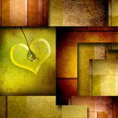 Pozadí s prvkem designu srdce na hnědé a zelené
