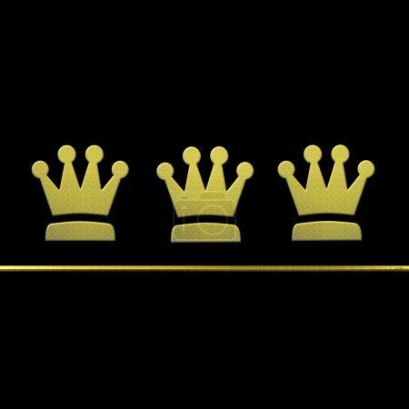 Photo pour Carte de Noël trois sages, or les couronnes métalliques sur fond noir avec l'espace de la copie - image libre de droit