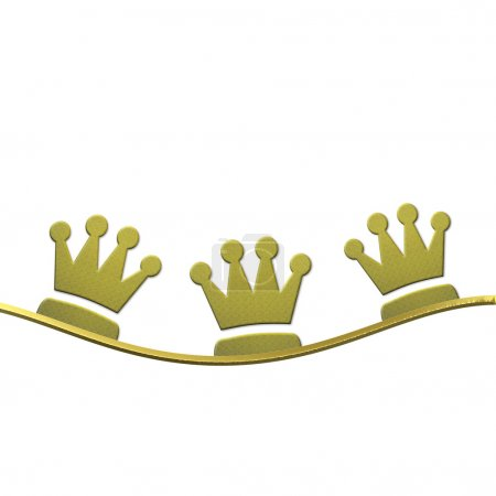 Photo pour Fond de Noël, couronnes d'or trois sages isolés sur fond blanc avec un espace pour le texte - image libre de droit