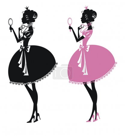 Two silhouettes beautiful princesses