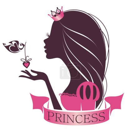 Illustration pour Portrait d'une belle princesse isolée sur fond blanc - image libre de droit